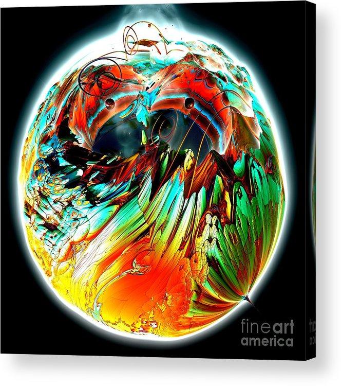 Fractal Art Acrylic Print featuring the digital art Colourful Planet by Bernard MICHEL