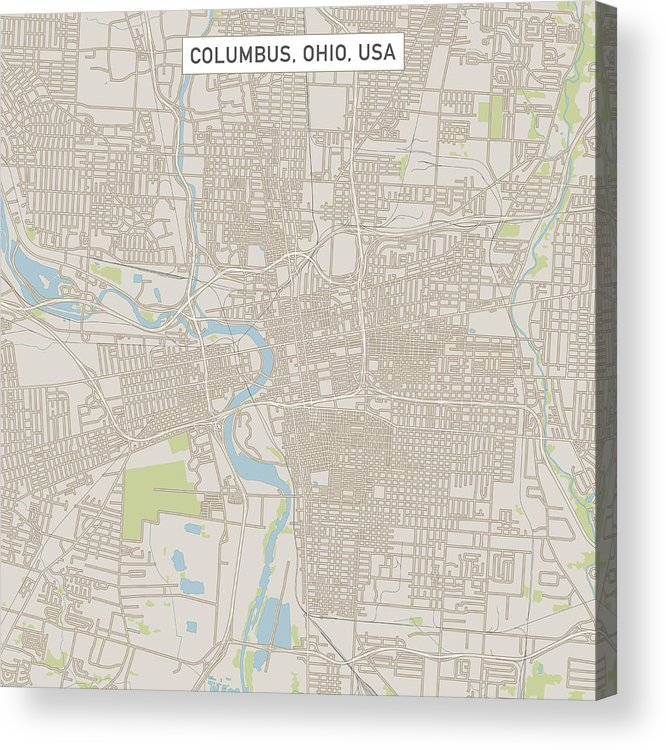 Columbus Ohio Us City Street Map Acrylic Print by FrankRamspott