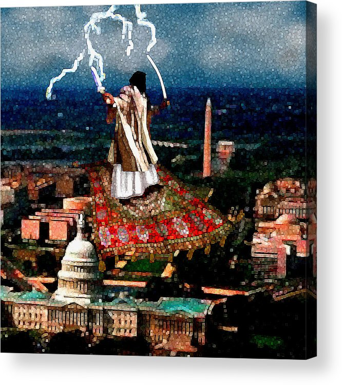 Washington Acrylic Print featuring the painting Cubist Jihad by Jann Paxton