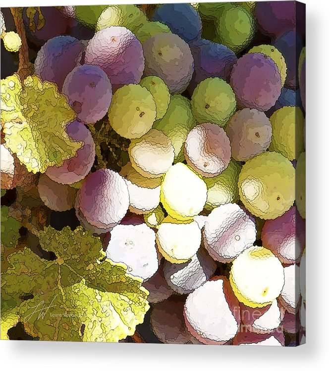 Grapes Acrylic Print featuring the painting Della Vite by Artist and Photographer Laura Wrede