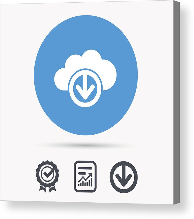 Download From Cloud Icon  Data Storage Sign  Acrylic Print