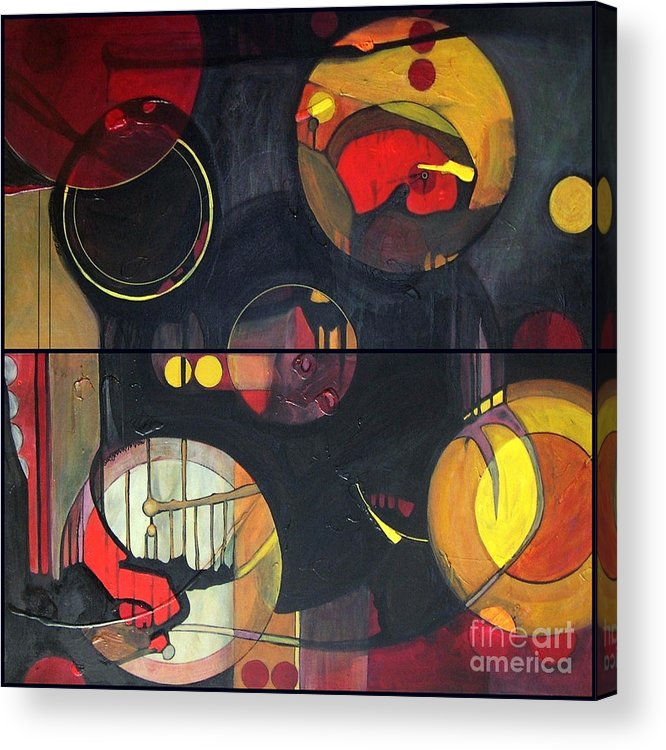 Diptych Acrylic Print featuring the painting Drama Resolved 1 And 3 by Marlene Burns