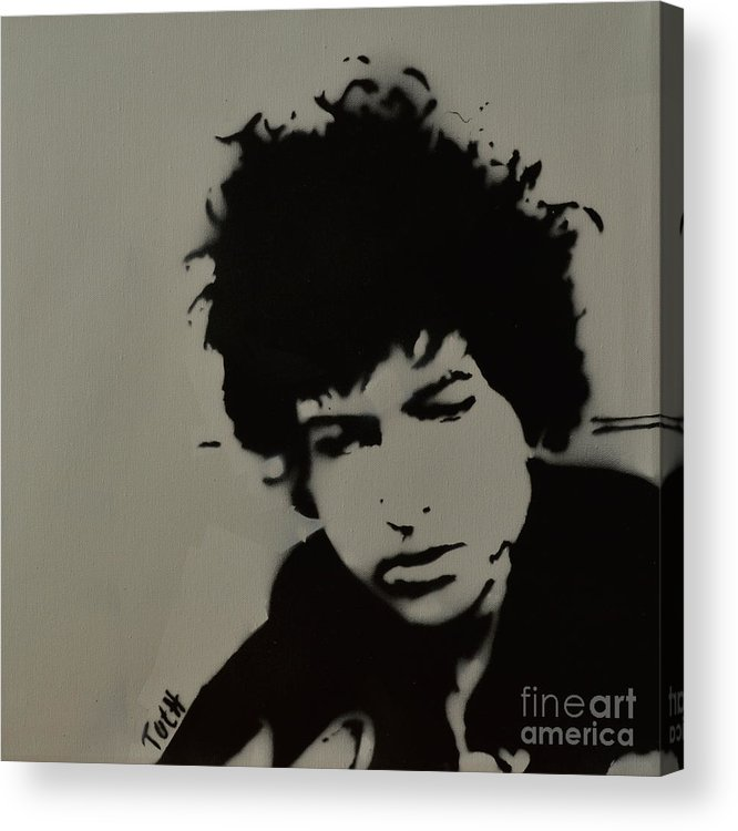 Dylan. Bob Dylan Acrylic Print featuring the painting Dylan Spray Art by Laura Toth