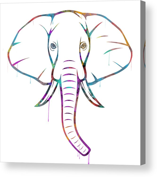Elephant Acrylic Print featuring the digital art Elephant Watercolors - White Background by Becca Buecher
