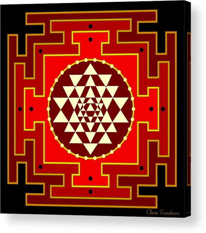 Mandala Acrylic Print featuring the digital art Fire Yantra by Clare Goodwin