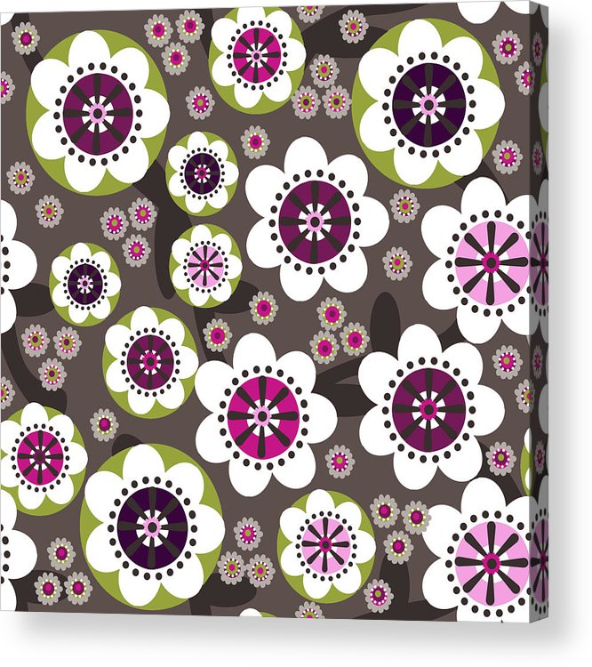 Posters Acrylic Print featuring the digital art Floral Grunge by Lisa Noneman