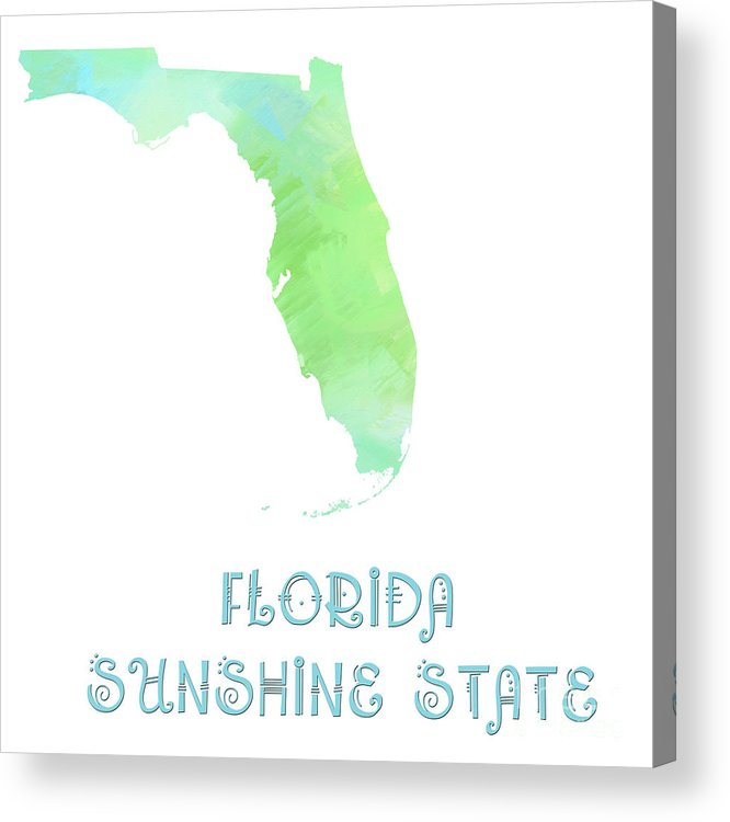 Andee Design Acrylic Print featuring the digital art Florida - Sunshine State - Map - State Phrase - Geology by Andee Design
