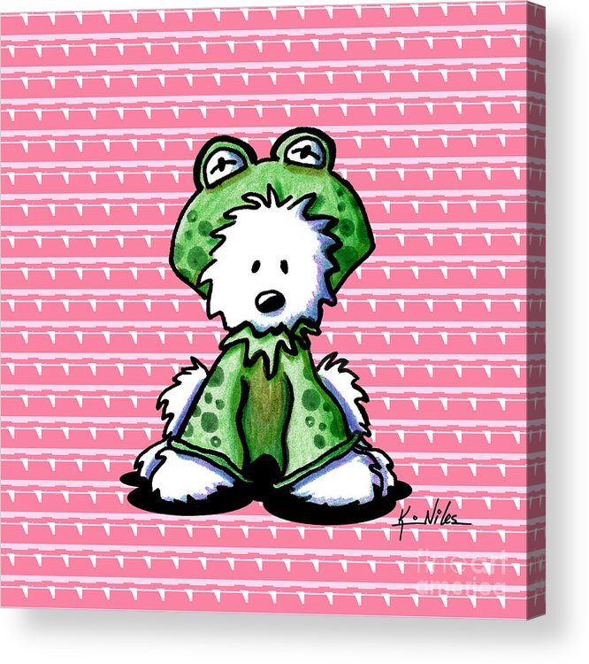 Westie Terrier Acrylic Print featuring the drawing Frog Prince Westie Dog by Kim Niles