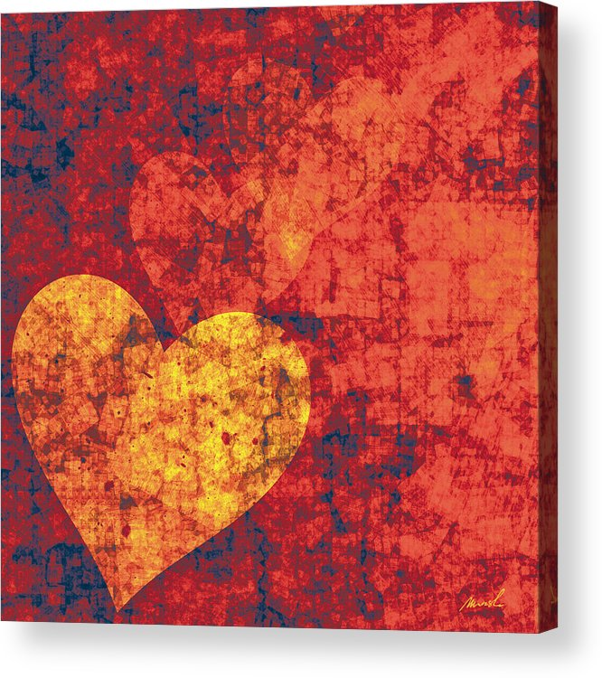 Hearts Acrylic Print featuring the painting Graffiti Hearts by The Art of Marsha Charlebois