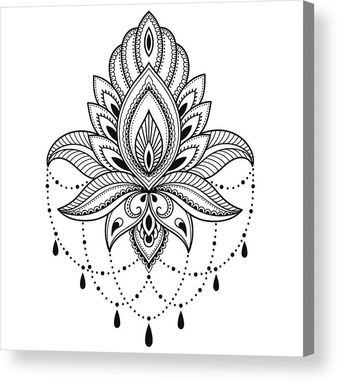 56760fc6c Henna Tattoo Flower Template In Indian Style. Ethnic Floral Paisley ...