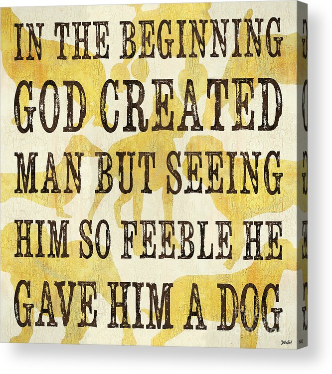 Dogs Acrylic Print featuring the painting In The Beginning... by Debbie DeWitt