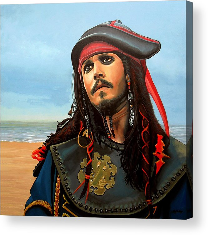 Johnny Depp Acrylic Print featuring the painting Johnny Depp As Jack Sparrow by Paul Meijering