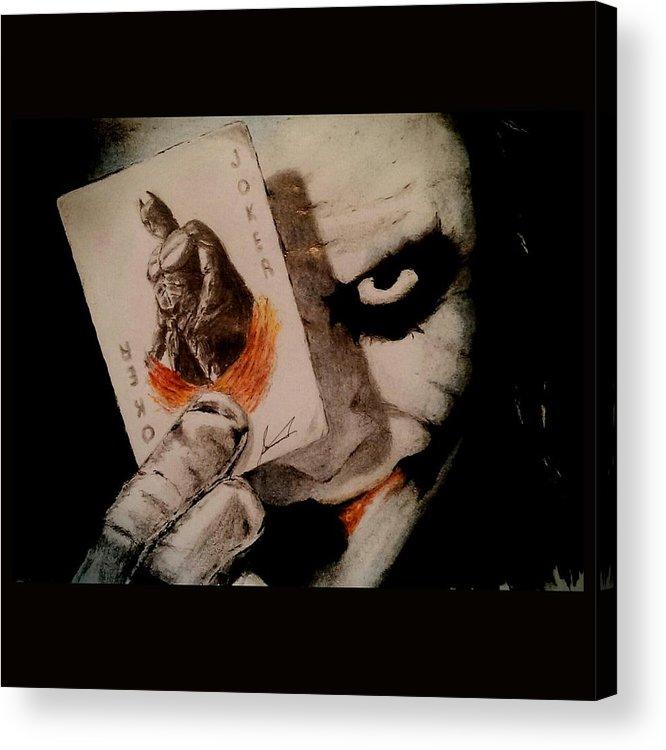 Joker Acrylic Print featuring the drawing Joker And Batman by Navid Nasir
