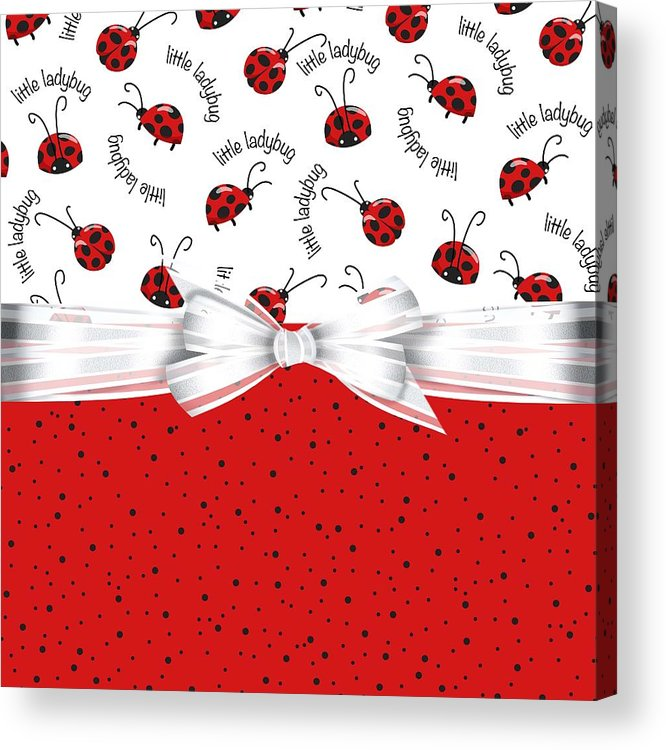 Ladybugs Acrylic Print featuring the digital art Ladybug Red And White by Debra Miller