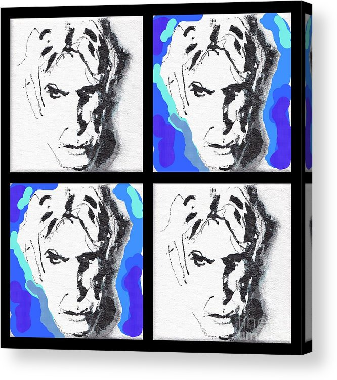 10x10 Acrylic Print featuring the mixed media Lectric Blue Collage by Rodney van den Beemd