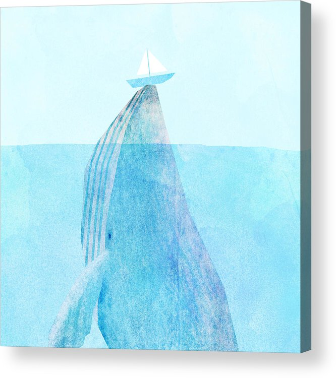 Whale Acrylic Print featuring the drawing Lift by Eric Fan