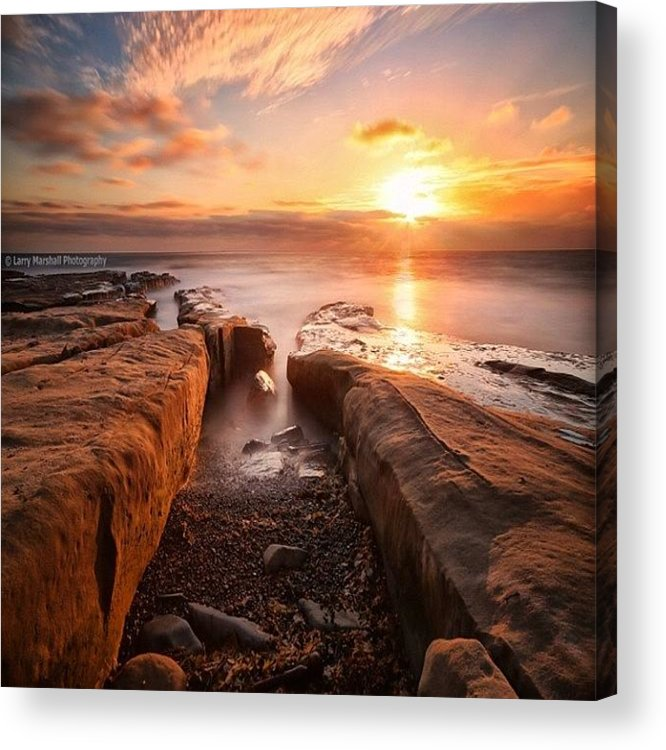 Acrylic Print featuring the photograph Long Exposure Sunset At A Rocky Reef In by Larry Marshall