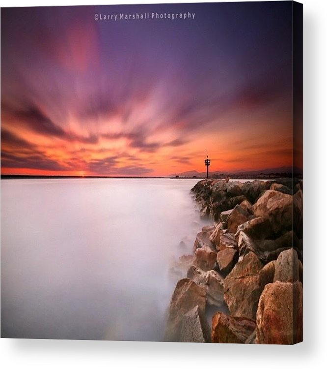 Acrylic Print featuring the photograph Long Exposure Sunset Shot At A Rock by Larry Marshall