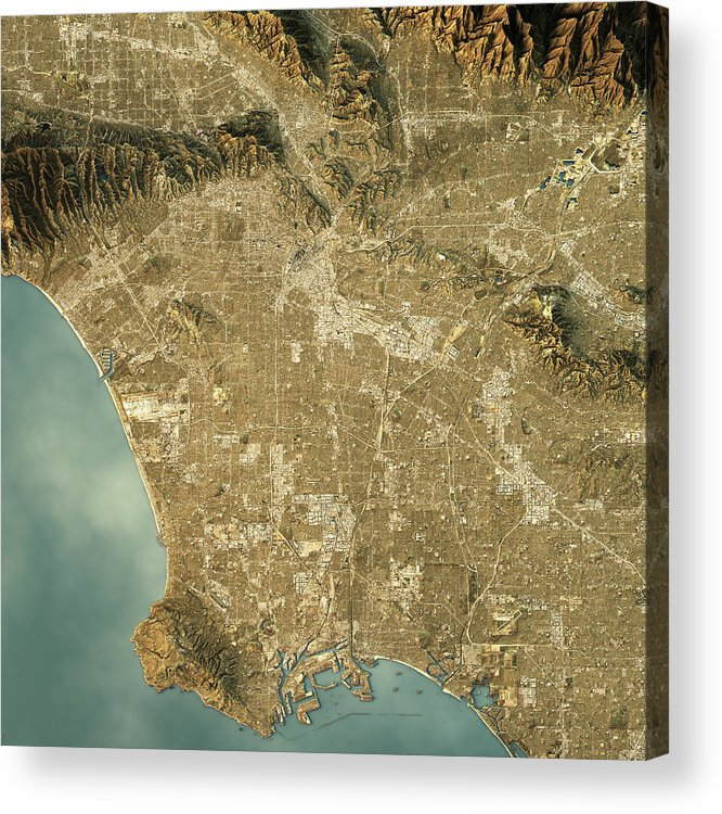 Los Angeles Topographic Map Natural Color Top View Acrylic Print By