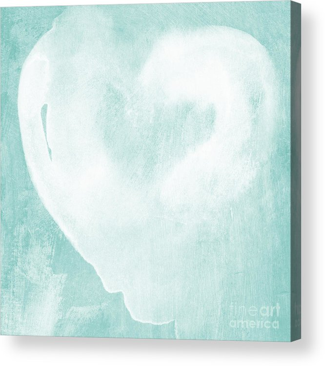 Love Acrylic Print featuring the mixed media Love In Aqua by Linda Woods