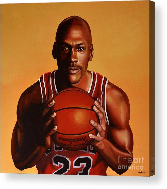 Michael Jordan Acrylic Print featuring the painting Michael Jordan 2 by Paul Meijering