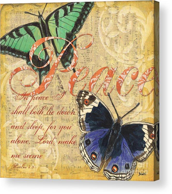 Butterflies Acrylic Print featuring the painting Musical Butterflies 2 by Debbie DeWitt