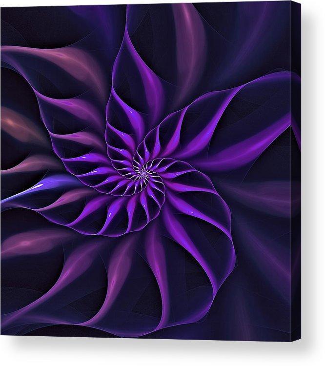 Flower Acrylic Print featuring the digital art Nautilus Fractalus Moongarden by Doug Morgan