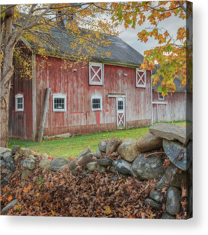 Bucolic Acrylic Print featuring the photograph New England Barn Square by Bill Wakeley