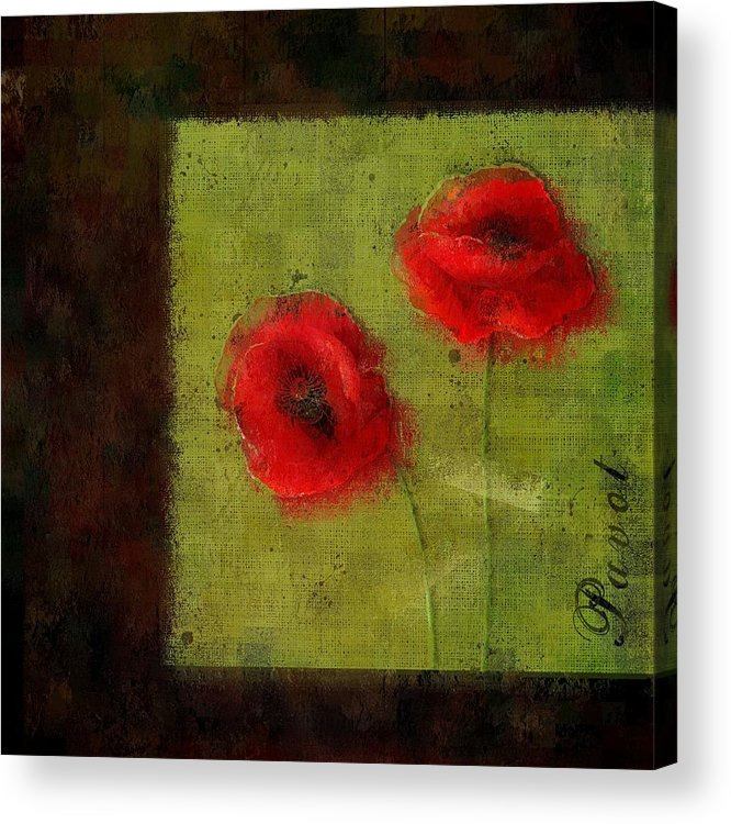Poppies Acrylic Print featuring the digital art Pavot - 027023173-bl01 by Variance Collections