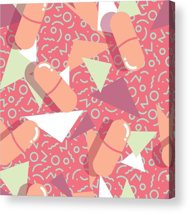 33237688dba Pharmacy Acrylic Print featuring the drawing Pills And Capsules Seamless  Pattern