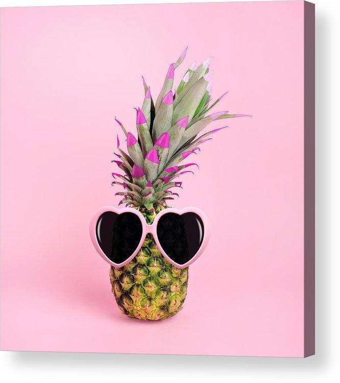 Food Acrylic Print featuring the photograph Pineapple Wearing Sunglasses by Juj Winn