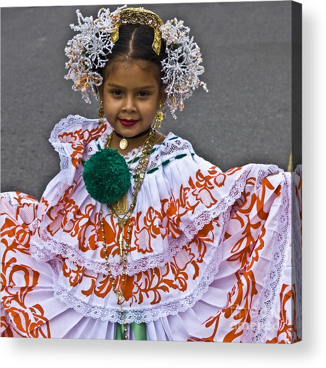 People Acrylic Print featuring the photograph Pollera Costume by Heiko Koehrer-Wagner