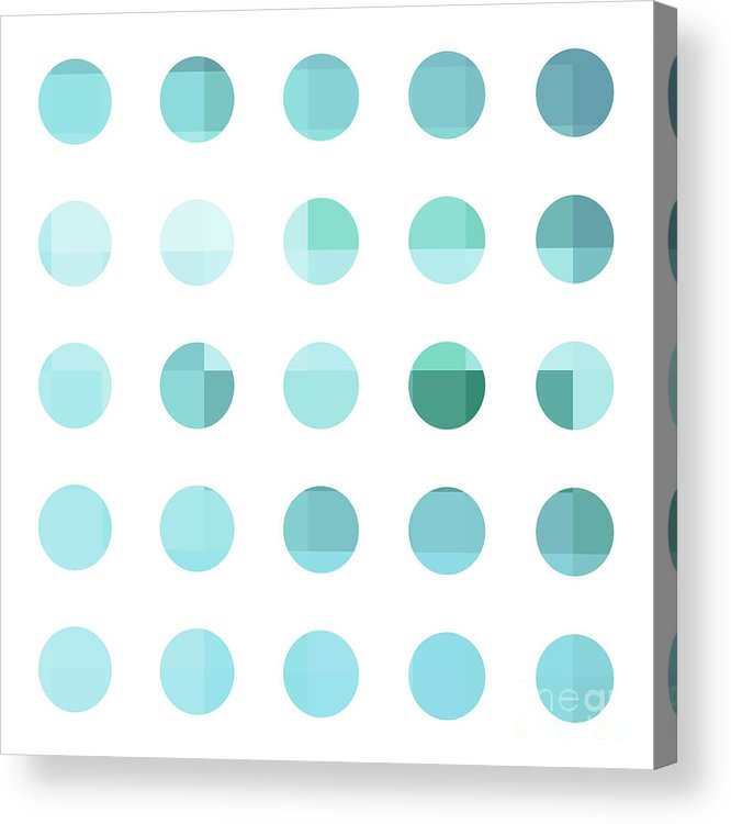 Abstract Acrylic Print featuring the painting Rainbow Dots Aqua by Pixel Chimp