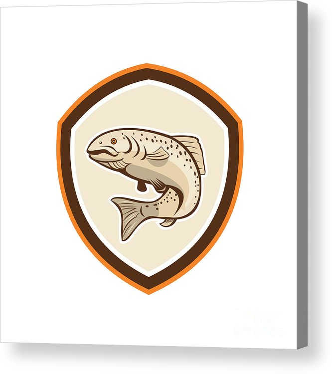 Rainbow Trout Acrylic Print featuring the digital art Rainbow Trout Jumping Cartoon Shield by Aloysius Patrimonio