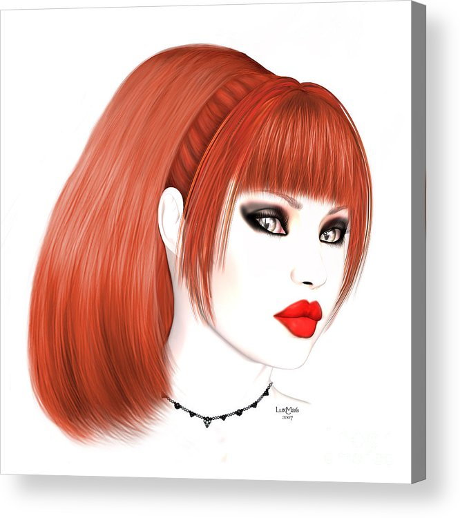 Redhead Cassia Acrylic Print featuring the painting Redhead Cassia by Renate Janssen