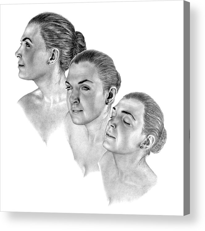 Pencil Drawing Print Acrylic Print featuring the drawing Reflecting by Joe Olivares