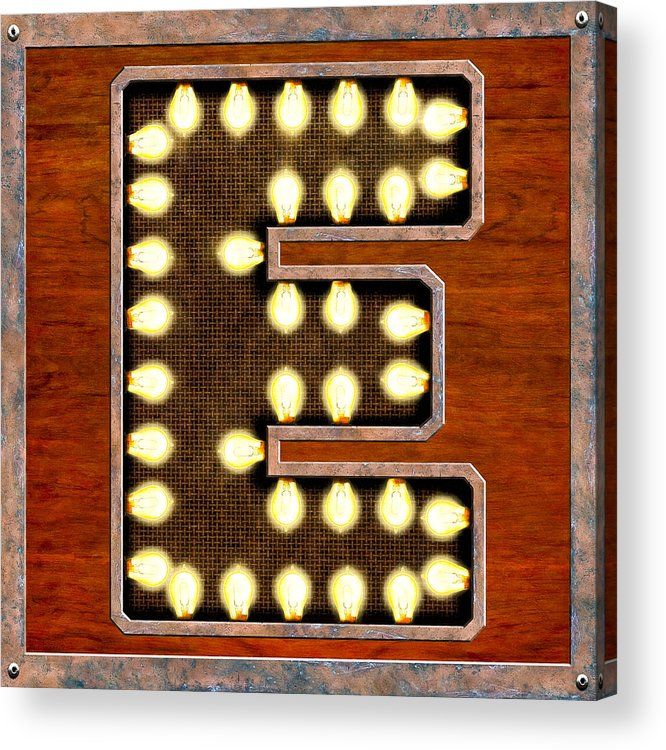Letter Acrylic Print featuring the digital art Retro Marquee Lighted Letter E by Mark Tisdale