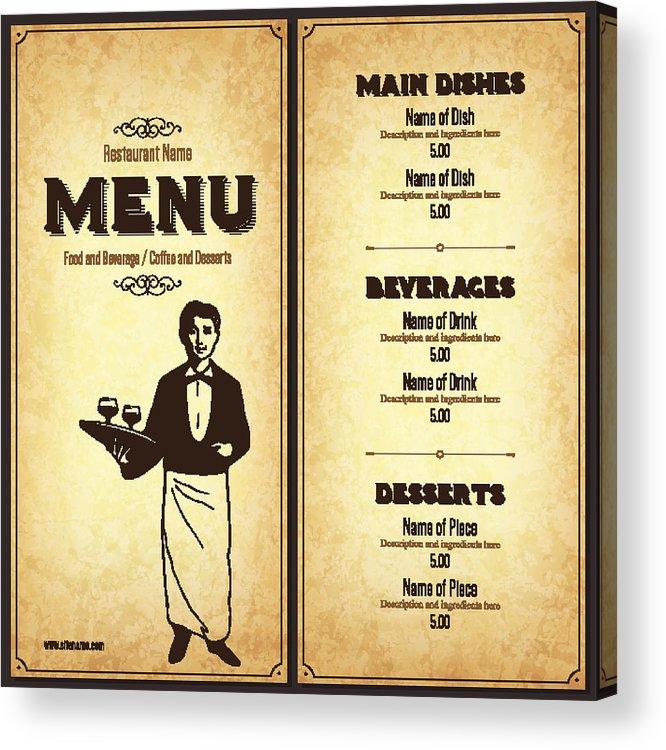 Retro Restaurant Menu Design With The Silhouette Of A Waiter Acrylic Print