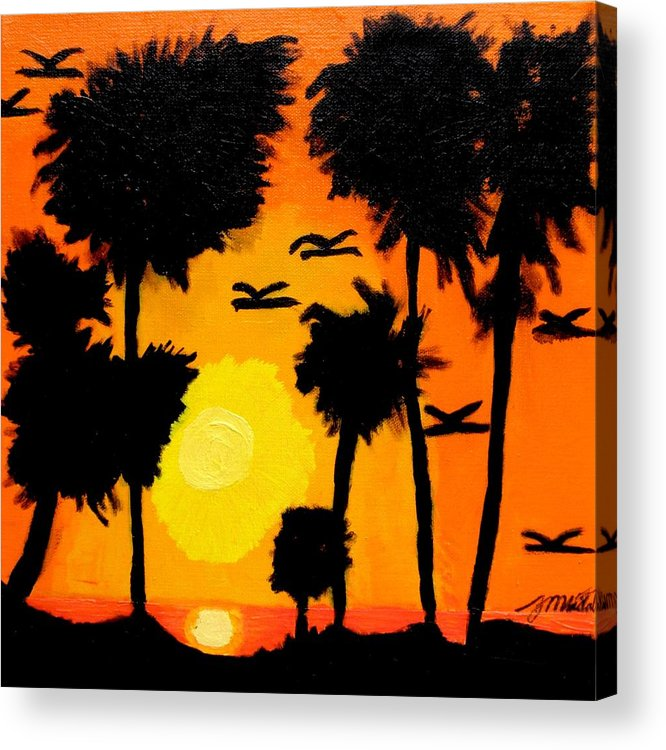 Tropical Acrylic Print featuring the painting Rising Glow At Sunset by Artists With Autism Inc