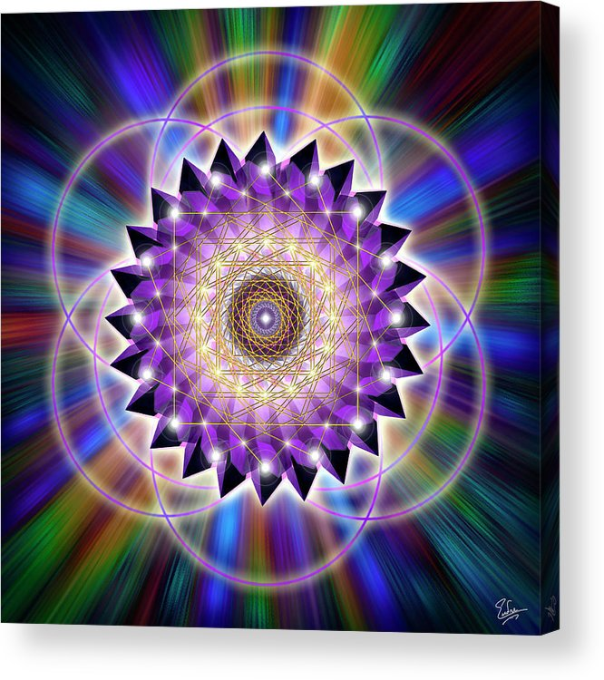 Endre Acrylic Print featuring the digital art Sacred Geometry 74 by Endre Balogh