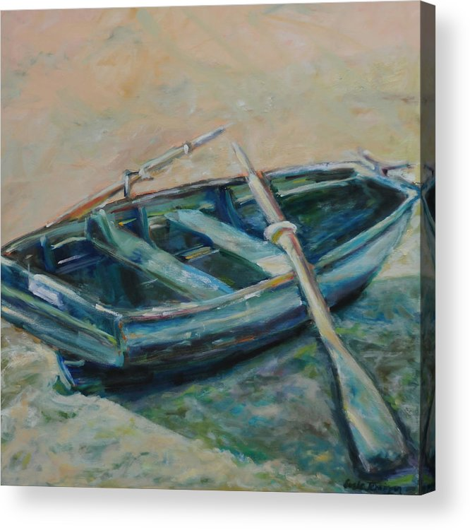 Boat Acrylic Print featuring the painting San Francisco Dinghy by Susie Jernigan