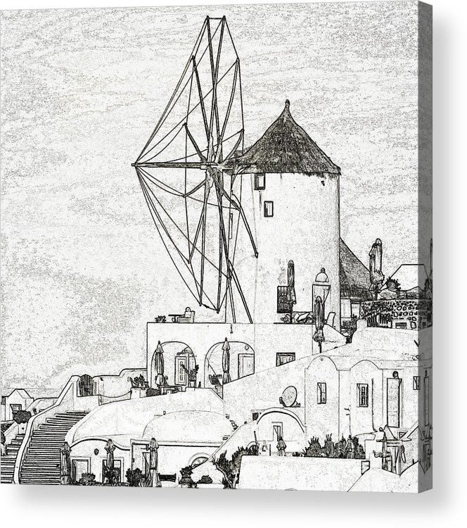 Santorini Acrylic Print featuring the photograph Santorini Windmill by Ewa Husejko-Swoszowska