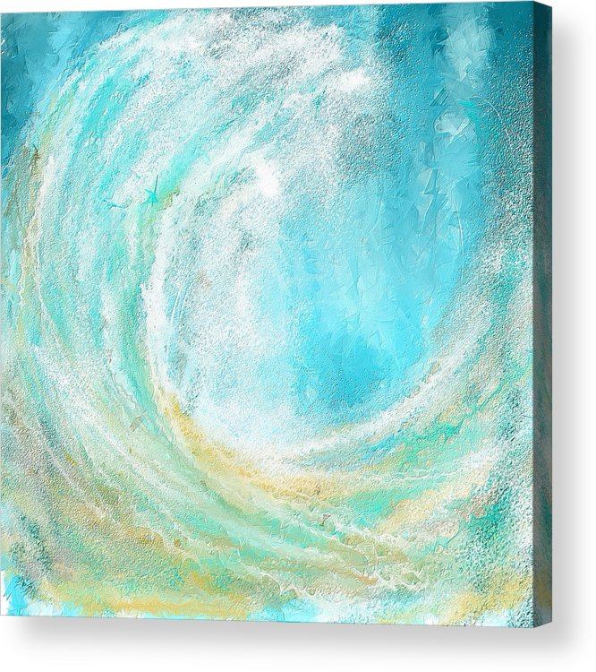 Seascapes Abstract Acrylic Print featuring the painting Seascapes Abstract Art - Mesmerized by Lourry Legarde