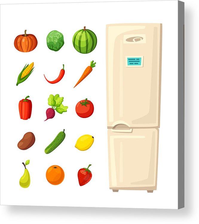 Set Of Healthy Food In Fridge  Cartoon Vector Illustration Acrylic Print