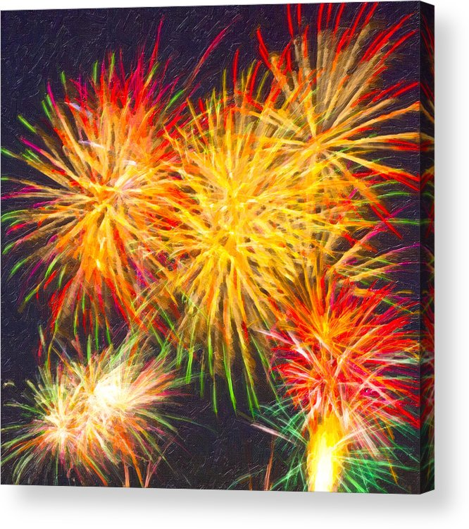 Fireworks Acrylic Print featuring the digital art Skies Aglow With Fireworks by Mark E Tisdale