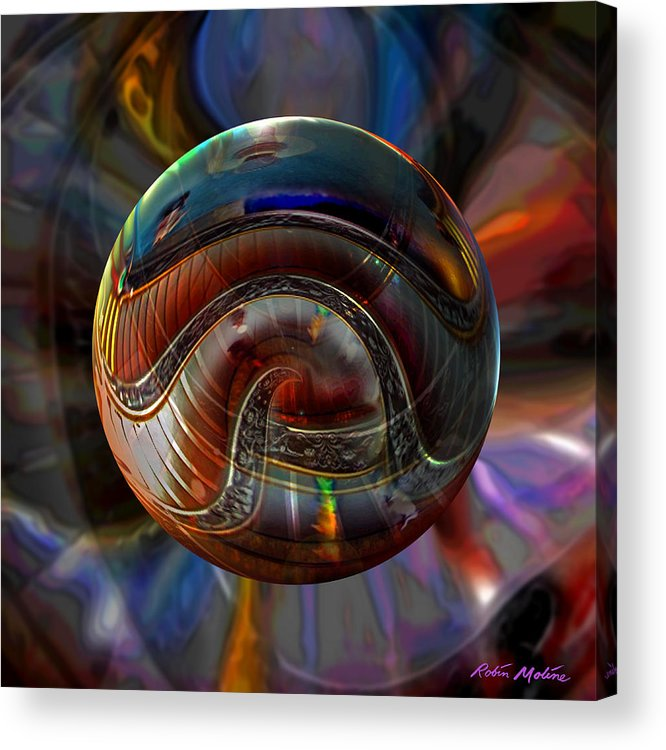 Vatican Art Acrylic Print featuring the digital art Spiraling The Vatican Staircase by Robin Moline
