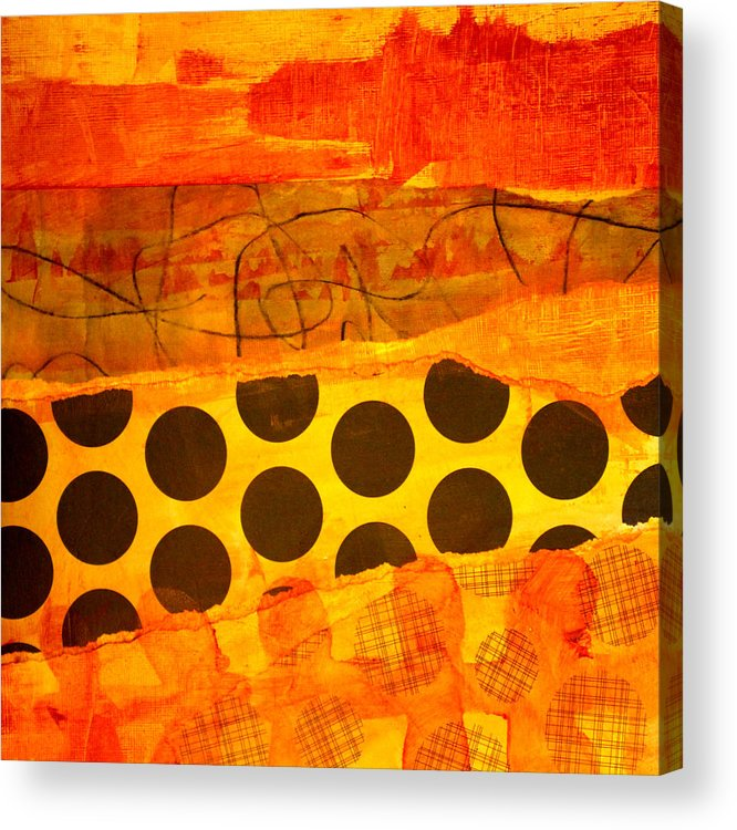 Orange Acrylic Print featuring the painting Spotted Sunset by Nancy Merkle