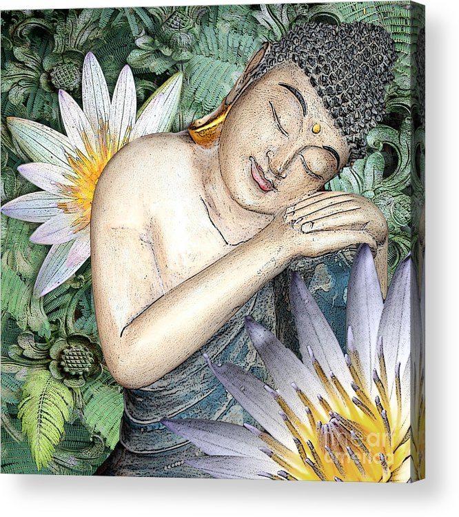 Buddha Acrylic Print featuring the digital art Spring Serenity by Christopher Beikmann
