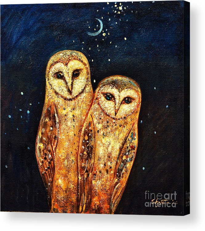 Owl Acrylic Print featuring the painting Starlight Owls by Shijun Munns