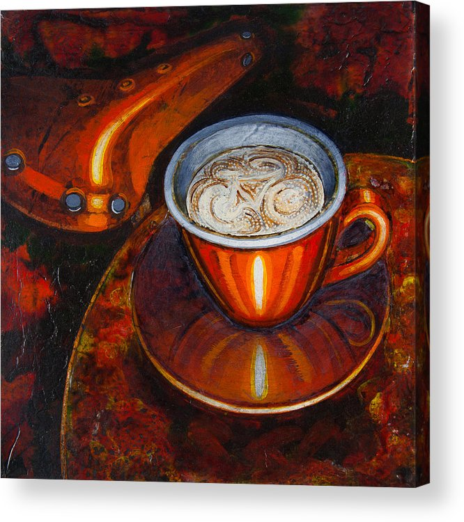Coffee Acrylic Print featuring the painting Still Life With Bicycle Saddle by Mark Jones
